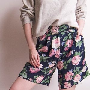 Vintage 80s floral print high waist trouser shorts